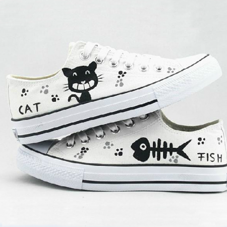 The autumn low help belted canvas shoes cat and fish hand-painted couple shoes