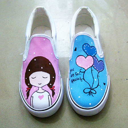 Casual and comfortable shoes sweet painted canvas shoes flat low help hand-painted shoes