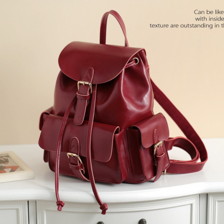 Leather Laptop Bag Backpack School Bag of candy colors high quality wind