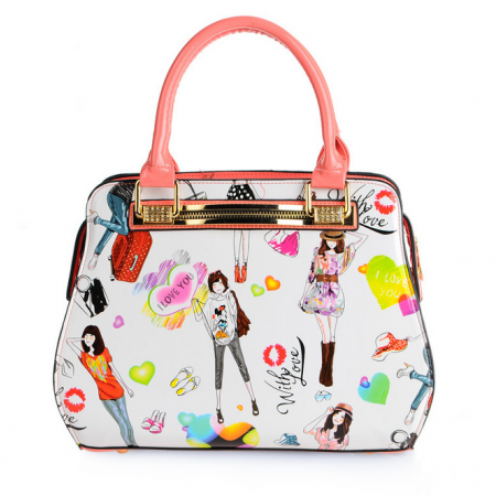 Colorful Girls Illustration Drawing Design Satchel Handbag