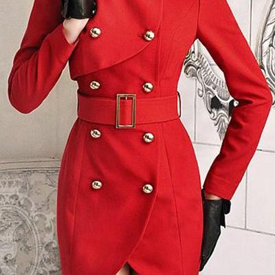 Cheap Retro Fashion Turndown Collar Long Sleeves Double-Breasted Asymmetrical Red Long Trench Coat
