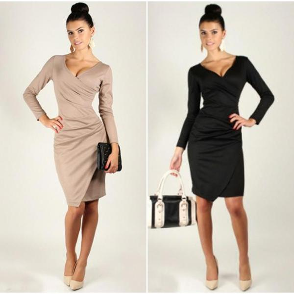 Classy V Neck Long Sleeve Wrap Dress