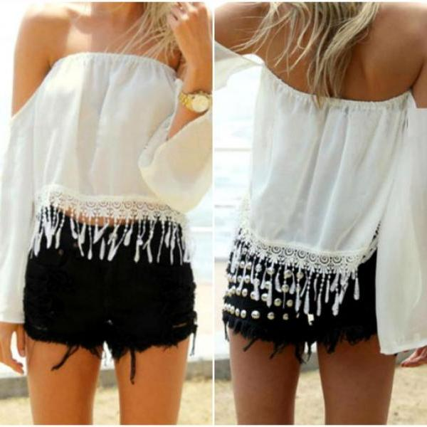 Gorgeous Lace And Chiffon Tassel Design Off Shoulder White Top
