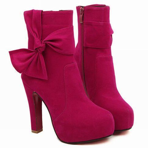 Bow Design High Heel Fashion Boots