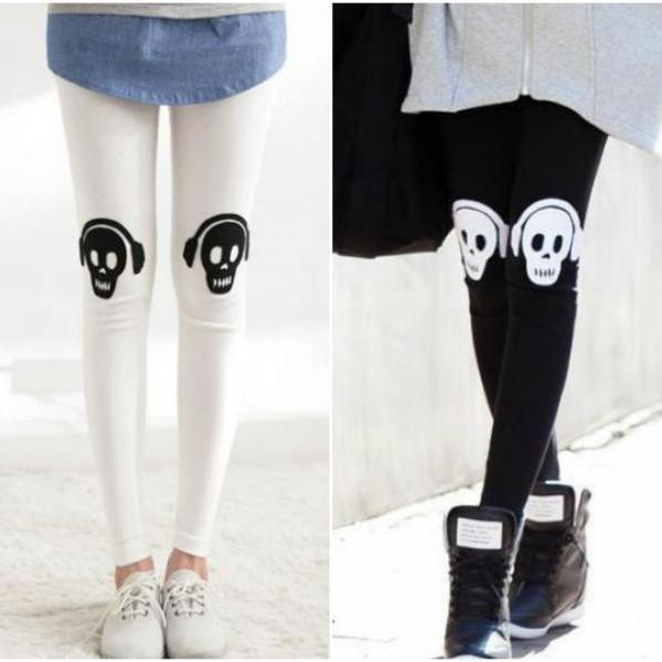 Skull Print Cut Out Design Leggings