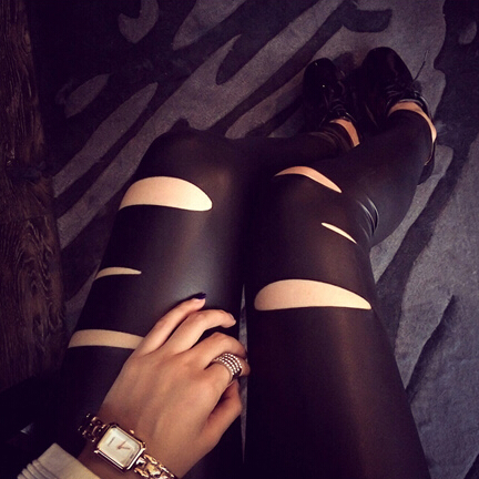 Cut Out Style Black Slim Fit PU Leggings