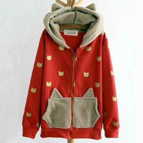 Cute Cat Hooded Sweater Jacket. Two Colors Available