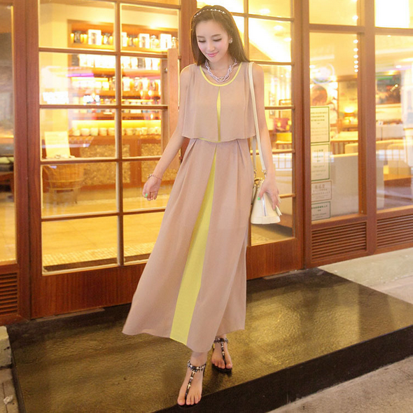 The new 2015 chiffon dress Joining together long skirt