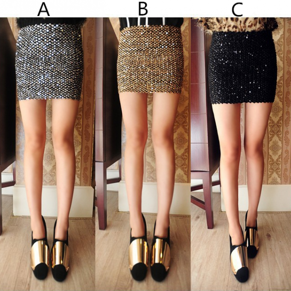 Tall waist bag hip big stretch of cultivate one's morality show thin skirt sequins package buttocks skirts