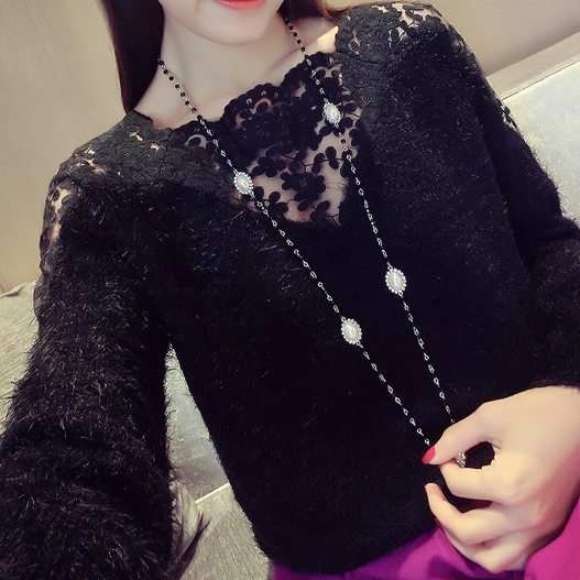 Lace stitching turtleneck collar long-sleeved sweater