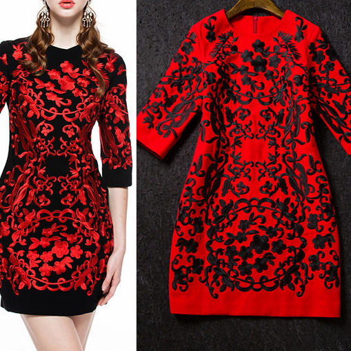 2015 Spring And Summer High-End Embroidery Slim Dress