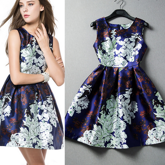 2015 European And American Women's Temperament Printed Sleeveless Dress