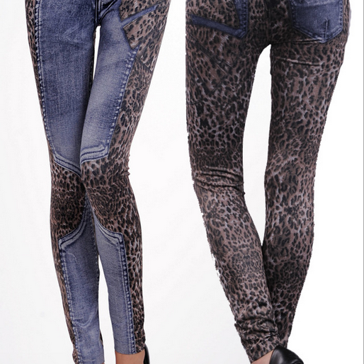 Denim Leggings Fashion Leopard Print Leggings