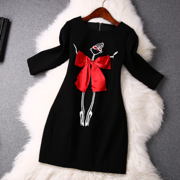 2015 European abstract characters embroidered bow round collar dress