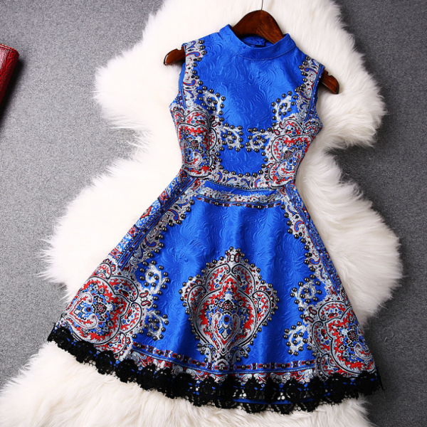 2015 European nail bead printed retro collar sleeveless dresses