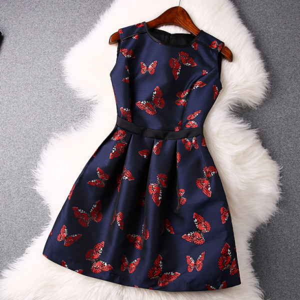 2015 European butterfly jacquard serging round collar sleeveless dresses