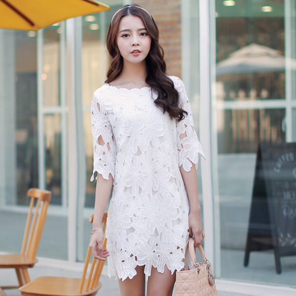 2015 flowers hollow out straight lace dress
