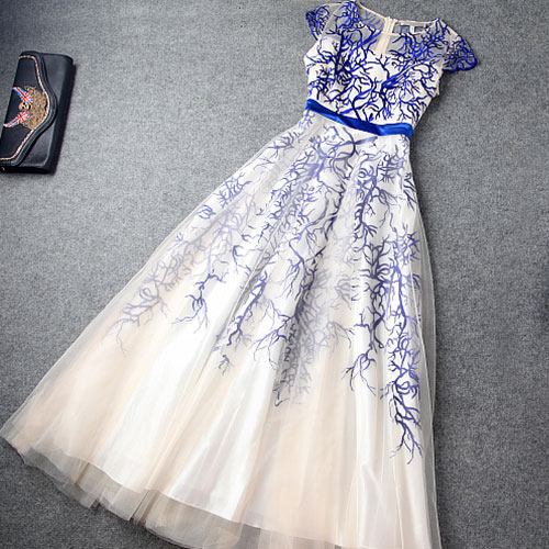 High Waist Embroidery Evening Dress Layered Ruffled Skirt