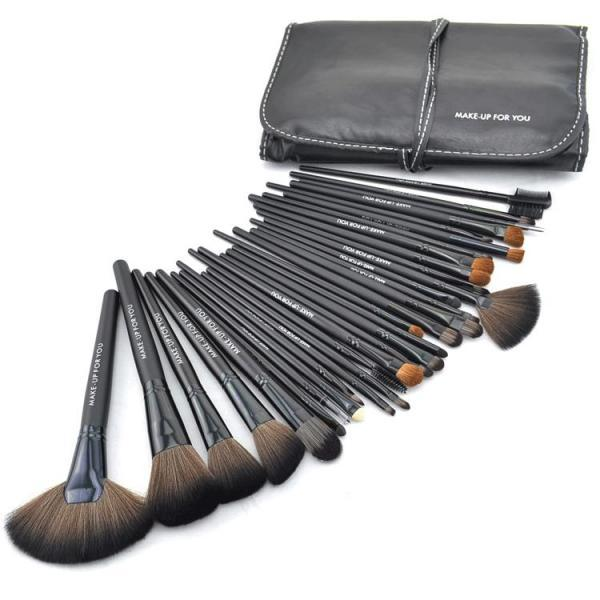 Good Quality 32 Pcs Makeup Brush Kit Makeup Brushes With Leather Case - Black