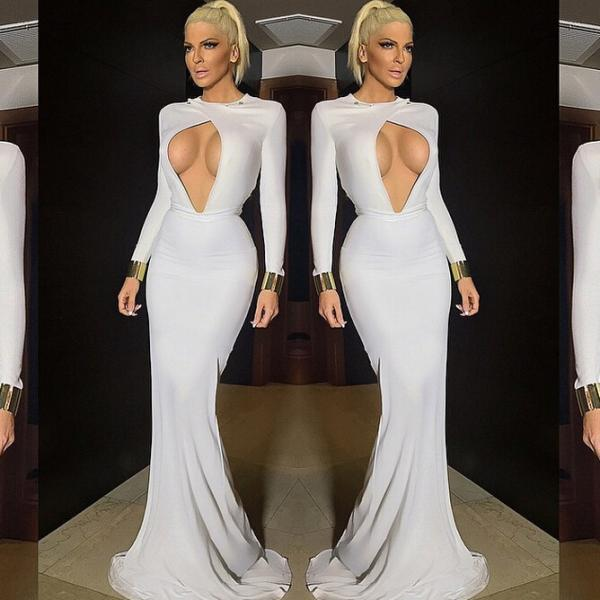 Long sleeve strapless gown with dress