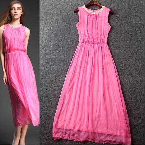 Candy Color Contracted Fashion Silk Dress Dress