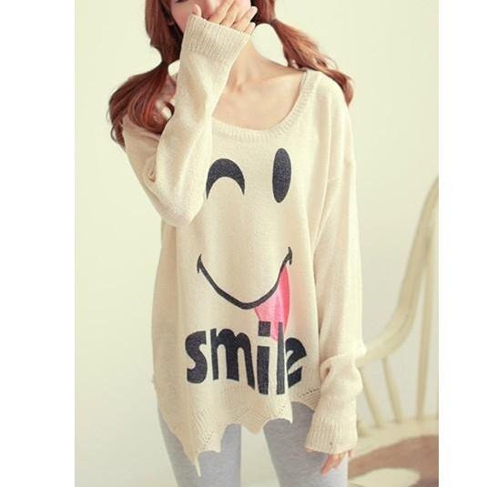 Smiley Bat Sleeve Sweater