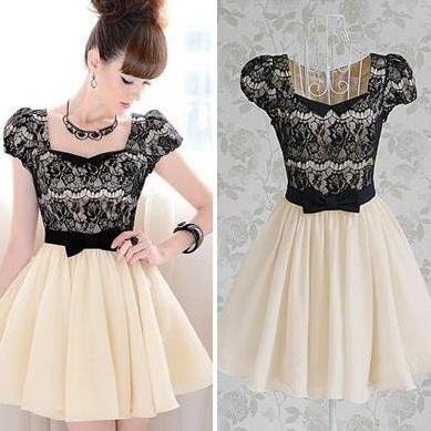 Diamond Bow Lace Dress