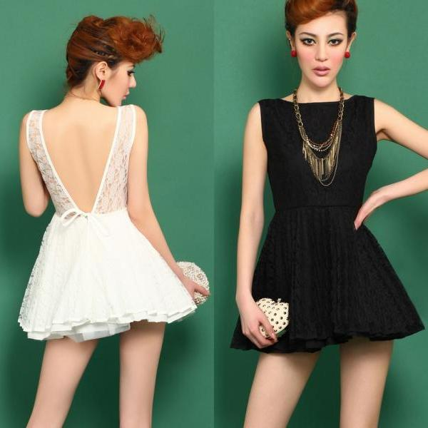 Deep V Dew Back Lace Tutu Dress